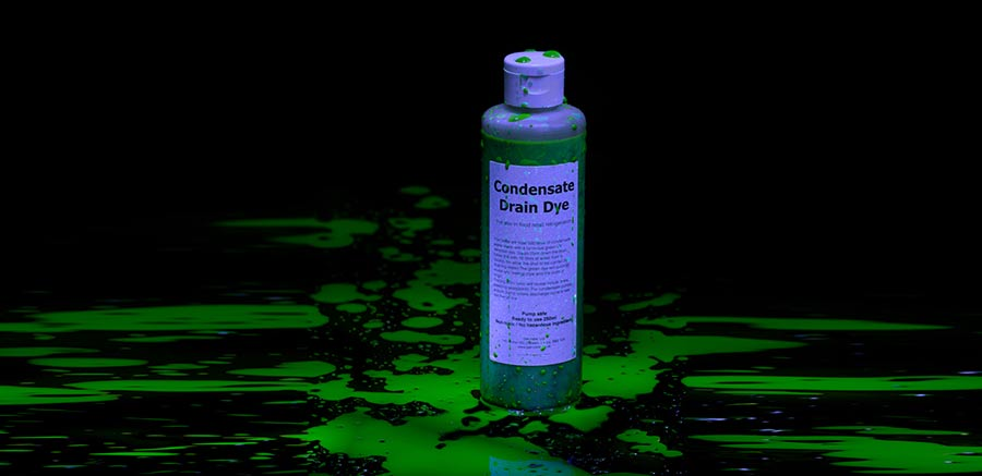 Identify leaks with condensate drain dye