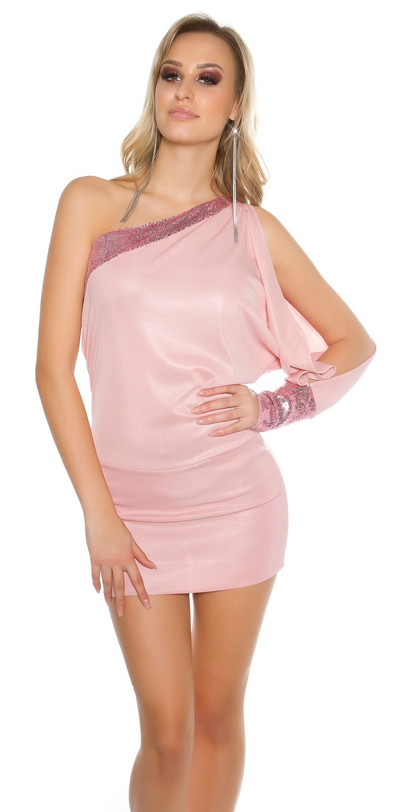 Sexy One-Arm-Dress with sequin_ANTIQUEPINK