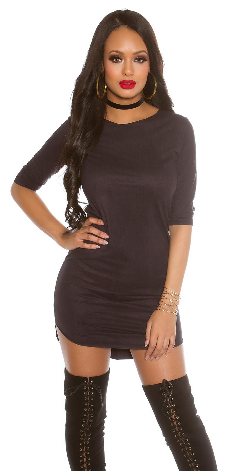 Sexy KouCla 3/4 sleeve Velvetlook Mini Dress