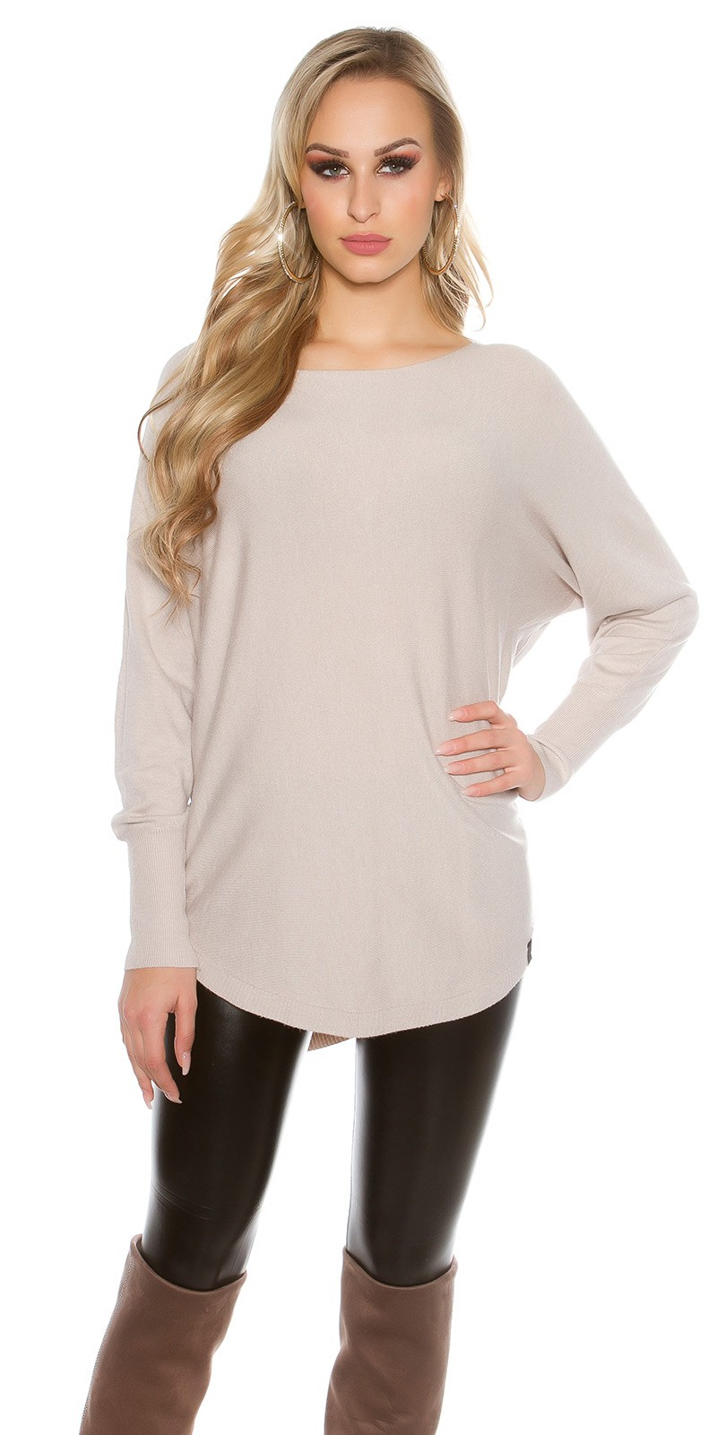 Trendy KouCla Oversize jumper with buttons_BEIGE