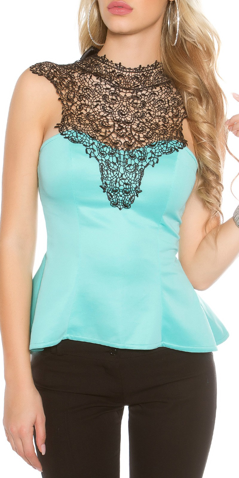 Elegant top with peplum and lace