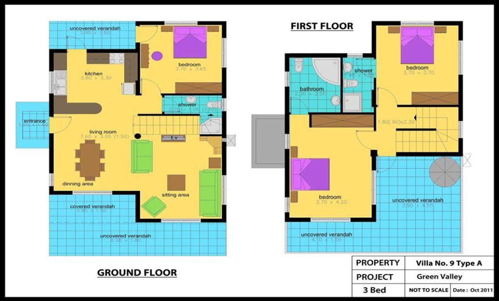 Green Valley Villa No 9(Type A)-3 Bed Colour Plan_1200x848