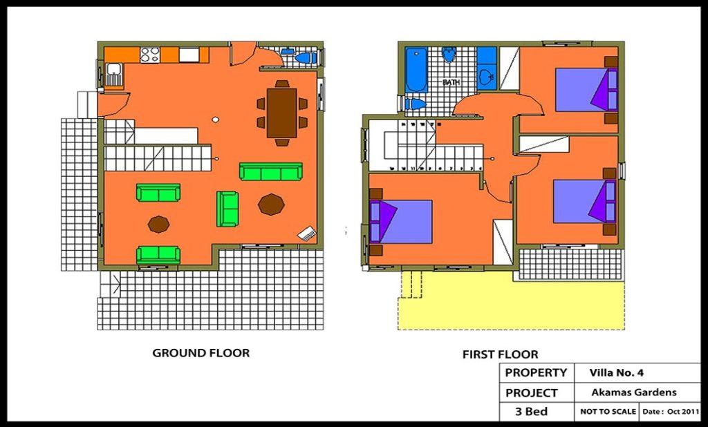 AKAMAS GARDENS Villa No 4-3 Bed Colour Plan