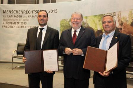 Awarding the FES Human Rights Prize 2015 to Ilan Sadeh and Hassan Atamna