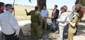 Delegation of German Politicians are briefed by Head of Erez Crossing - Shlomo Tzaban and Major Amitay Cohen from the Cogat (Coordination of Goverment Activities in the Territories) – about the situation