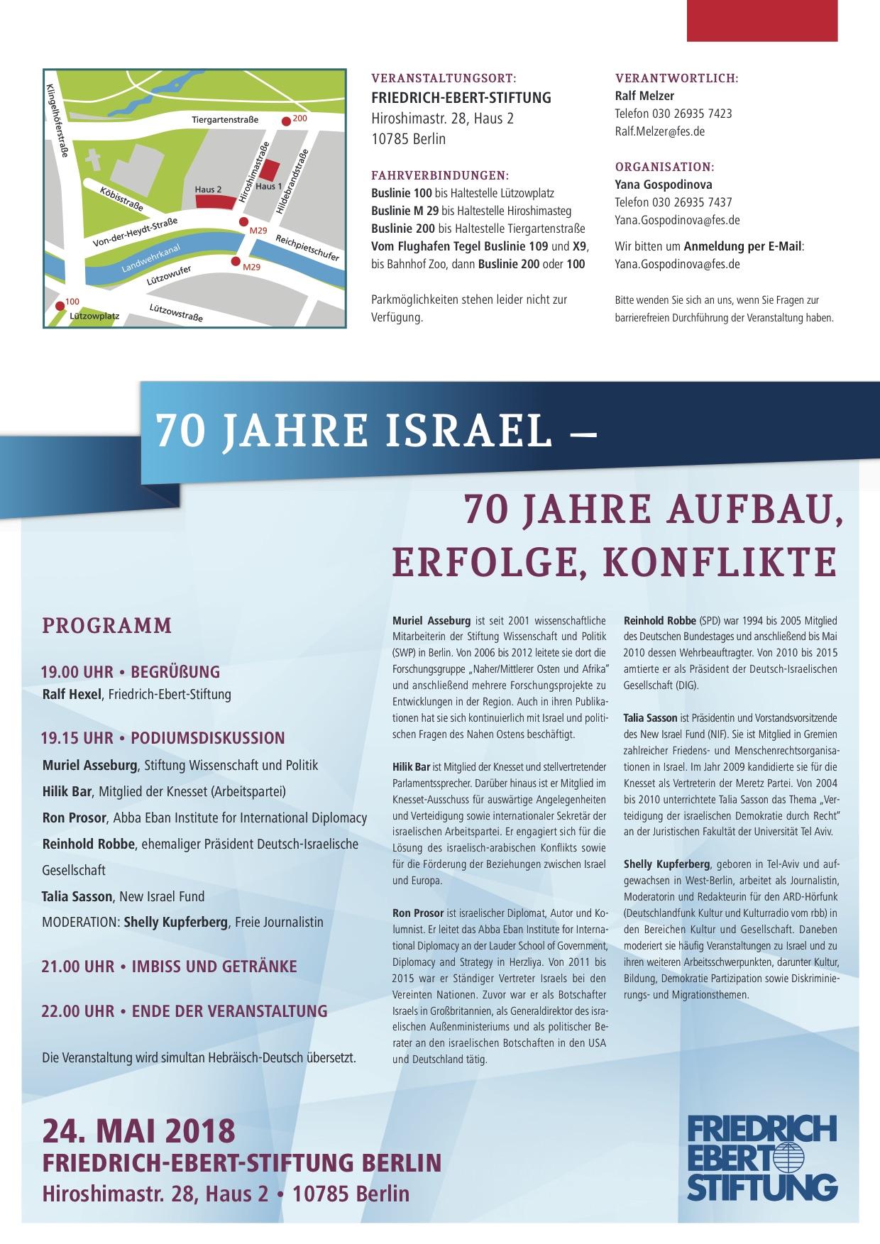 Konferenz: 70 Jahre Israel - 70 Jahre Aufbau, Erfolge, Konfilkte ...