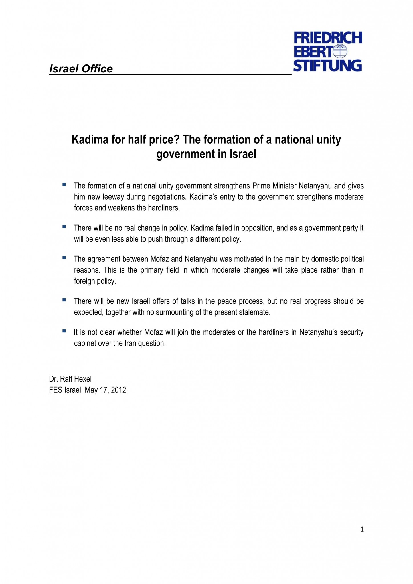 The formation of a National Unity Government in Israel