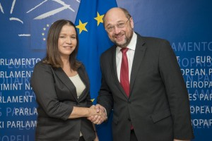MK Shelly Yachimovich and President of European Parliament Martin Schulz at IEPN Panel Discussion, 10 October 2012