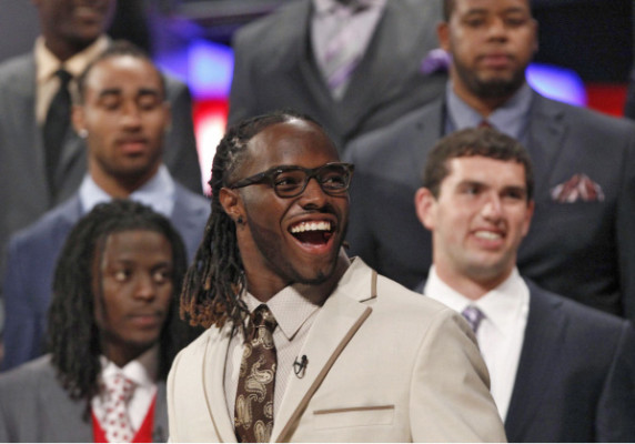 Trent Richardson from the University of Alabama takes to the stage before 2012 NFL Draft at Radio City Music Hall in New York