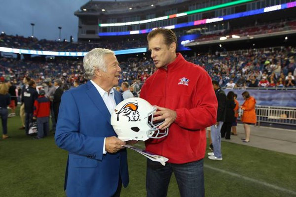 Picture 2 with Bob Kraft - Moscow Patriots Helmet (08-29-2013)