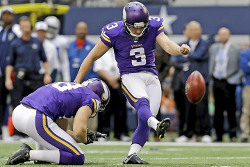 Vikings punter Jeff Locke holds for kicker Blair Walsh, who boots a 23-yard field goal against the Cowboys in the first quarter on Sunday, Nov. 3, 2013, in Arlington, Texas. (AP Photo/Nam Y. Huh)