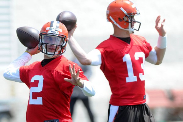 Jun 16, 2015; Berea, OH, USA; Cleveland Browns quarterback Johnny Manziel (2) and Cleveland Browns quarterback Josh McCown (13) during minicamp at the Cleveland Browns practice facility. Mandatory Credit: Ken Blaze-USA TODAY Sports ORG XMIT: USATSI-225792 ORIG FILE ID:  20150616_gav_bk4_063.jpg