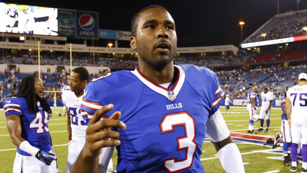 Buffalo Bills EJ Manuel (3) leaves the field after an NFL preseason football game against the Minnesota Vikings Friday, Aug. 16, 2013, in Orchard Park, N.Y. (AP Photo/Bill Wippert)