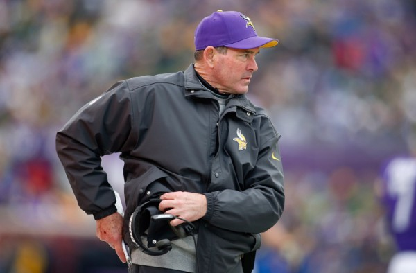 Nov 23, 2014; Minneapolis, MN, USA; Minnesota Vikings head coach Mike Zimmer walks along the sidelines in the game with the Green Bay Packers at TCF Bank Stadium. The Green Bay Packers win 24-21. Mandatory Credit: Bruce Kluckhohn-USA TODAY Sports