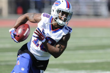 Jul 31, 2015; Pittsford, NY, USA; Buffalo Bills wide receiver Percy Harvin (18) turns up field after makig a catch during training camp at St. John Fisher College. Mandatory Credit: Mark Konezny-USA TODAY Sports ORG XMIT: USATSI-230764 ORIG FILE ID:  20150731_gav_bk3_153.jpg