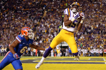 BATON ROUGE, LA - OCTOBER 17:  Malachi Dupre #15 of the LSU Tigers catches a touchdown over Quincy Wilson #6 of the Florida Gators at Tiger Stadium on October 17, 2015 in Baton Rouge, Louisiana.  (Photo by Chris Graythen/Getty Images)