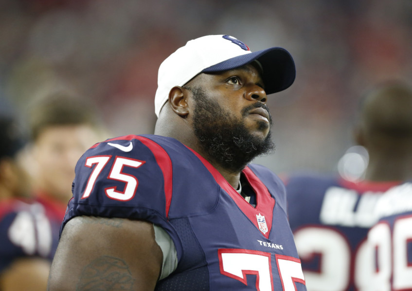 Aug 15, 2015; Houston, TX, USA; Houston Texans nose tackle Vince Wilfork (75) on the sidelines during the game against the San Francisco 49ers in a preseason NFL football game at NRG Stadium. Mandatory Credit: Matthew Emmons-USA TODAY Sports ORG XMIT: USATSI-224996 ORIG FILE ID: 20150815_mje_se2_836.jpg