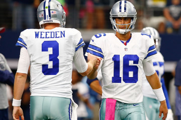 ARLINGTON, TX - OCTOBER 11:  Dallas Cowboys Brandon Weeden #3 of the Dallas Cowboys and Matt Cassel #16 of the Dallas Cowboys fist bump before the start of their NFL game against the New England Patriots at AT&T Stadium on October 11, 2015 in Arlington, Texas.  (Photo by Mike Stone/Getty Images) ORG XMIT: 570162087 ORIG FILE ID: 492293096