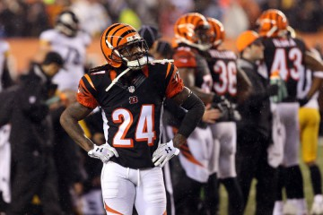 Jan 9, 2016; Cincinnati, OH, USA; Cincinnati Bengals cornerback Adam Jones (24) reacts during the fourth quarter against the Pittsburgh Steelers in the AFC Wild Card playoff football game at Paul Brown Stadium. Mandatory Credit: Aaron Doster-USA TODAY Sports ORG XMIT: USATSI-245800 ORIG FILE ID:  20160109_pjc_db4_313.JPG