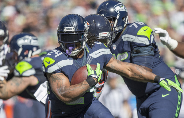 Marshawn Lynch was the only one who could gain any ground against Chicago in the first half. The Chicago Bears played the Seattle Seahawks in the third game of the season for both teams, Sunday September 27, 2015, in CenturyLink Field in Seattle, WA.