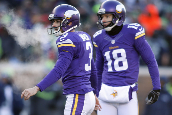 Jan 10, 2016; Minneapolis, MN, USA; Minnesota Vikings kicker Blair Walsh (3) reacts after making a field goal against the Seattle Seahawks in the second half of a NFC Wild Card playoff football game at TCF Bank Stadium. Mandatory Credit: Bruce Kluckhohn-USA TODAY Sports