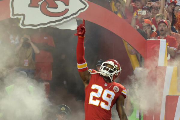 Sep 17, 2015; Kansas City, MO, USA; Kansas City Chiefs strong safety Eric Berry (29) enters the field before the game against the Denver Broncos at Arrowhead Stadium. The Broncos won 31-24. Mandatory Credit: Denny Medley-USA TODAY Sports