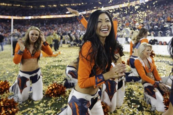 Denver Broncos cheerleaders celebrate their team's victory over the Carolina Panthers in the NFL Super Bowl 50 football game Sunday, Feb. 7, 2016, in Santa Clara, Calif. The Broncos won 24-10. (AP Photo/Jae C. Hong)