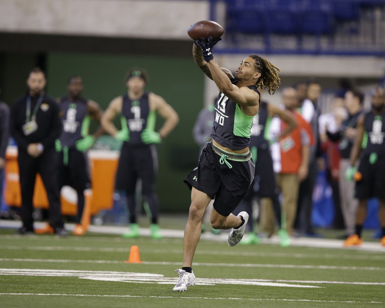 Notre Dame receiver Will Fuller runs a drill at the NFL football scouting combine on Saturday, Feb. 27, 2016, in Indianapolis. (AP Photo/Darron Cummings)