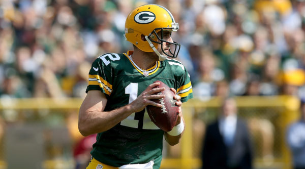 GREEN BAY, WI - SEPTEMBER 25: Aaron Rodgers #12 of the Green Bay Packers drops back to pass in the second quarter against the Detroit Lions at Lambeau Field on September 25, 2016 in Green Bay, Wisconsin. (Photo by Dylan Buell/Getty Images)