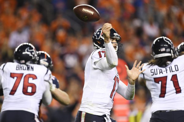 Brock Osweiler (17) of the Houston Texans loses the ball against the Denver Broncos during the third quarter on Monday, October 24, 2016. The Denver Broncos hosted the Houston Texans. Helen H. Richardson/The Denver Post