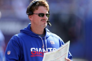 Oct 16, 2016; East Rutherford, NJ, USA; New York Giants head coach Ben McAdoo coaches against the Baltimore Ravens during the second quarter at MetLife Stadium. Mandatory Credit: Brad Penner-USA TODAY Sports