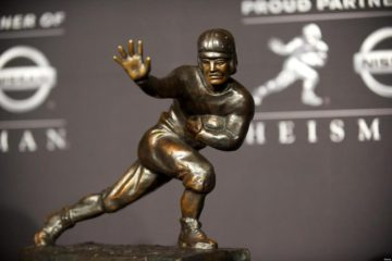 Dec. 10, 2011 - New York, NY, USA - The Heisman Trophy is on display onstage after quarterback Robert Griffin III of Baylor University holds a press conference after winning the award at The New York Marriott Marquis. (Credit Image: © Mark Makela/ZUMAPRES