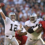 FILE - In this Jan. 26, 2003, file photo, Oakland Raiders quarterback Rich Gannon (12) passes in the first quarter against the Tampa Bay Buccaneers in Super Bowl XXXVII in San Diego. Gannon threw five interceptions in the matchup won 48-21 by Tampa. (AP Photo/David J. Phillip, File)