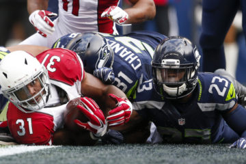 Dec 24, 2016; Seattle, WA, USA; Arizona Cardinals running back David Johnson (31) rushes for a touchdown against Seattle Seahawks free safety Steven Terrell (23) during the first quarter at CenturyLink Field. Mandatory Credit: Joe Nicholson-USA TODAY Sports