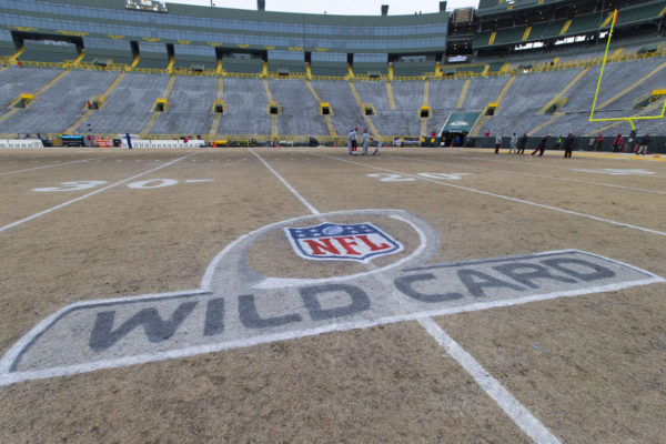 Jan 5, 2014; Green Bay, WI, USA; The NFL Wild Card logo on the field prior to the 2013 NFC wild card playoff football game between the San Francisco 49ers and the Green Bay Packers at Lambeau Field. Mandatory Credit: Jeff Hanisch-USA TODAY Sports