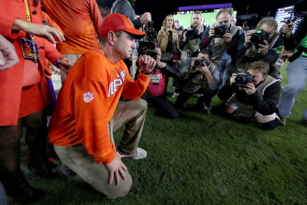 TAMPA, FL - JANUARY 09:  Head coach Dabo Swinney of the Clemson Tigers reacts after defeating the Alabama Crimson Tide 35-31 to win the 2017 College Football Playoff National Championship Game at Raymond James Stadium on January 9, 2017 in Tampa, Florida.  (Photo by Tom Pennington/Getty Images)