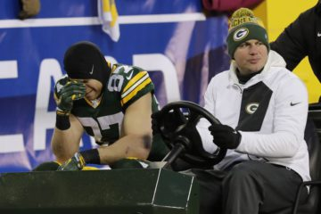 Jan 8, 2017; Green Bay, WI, USA; Green Bay Packers wide receiver Jordy Nelson (87) is carted off the field after an injury against the New York Giants in the NFC Wild Card playoff football game at Lambeau Field. Mandatory Credit: Dan Powers/The Post-Crescent via USA TODAY Sports