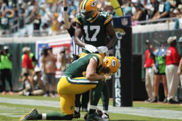 Sep 11, 2016; Jacksonville, FL, USA;  Green Bay Packers wide receiver Davante Adams (17) and wide receiver Jordy Nelson (87) celebrate after a touchdown in the second quarter against the Jacksonville Jaguars at EverBank Field. Mandatory Credit: Logan Bowles-USA TODAY Sports
