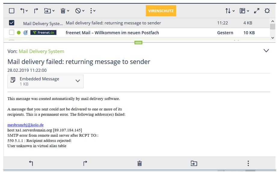 1. E-Mail Rückläufer Was kann ich tun