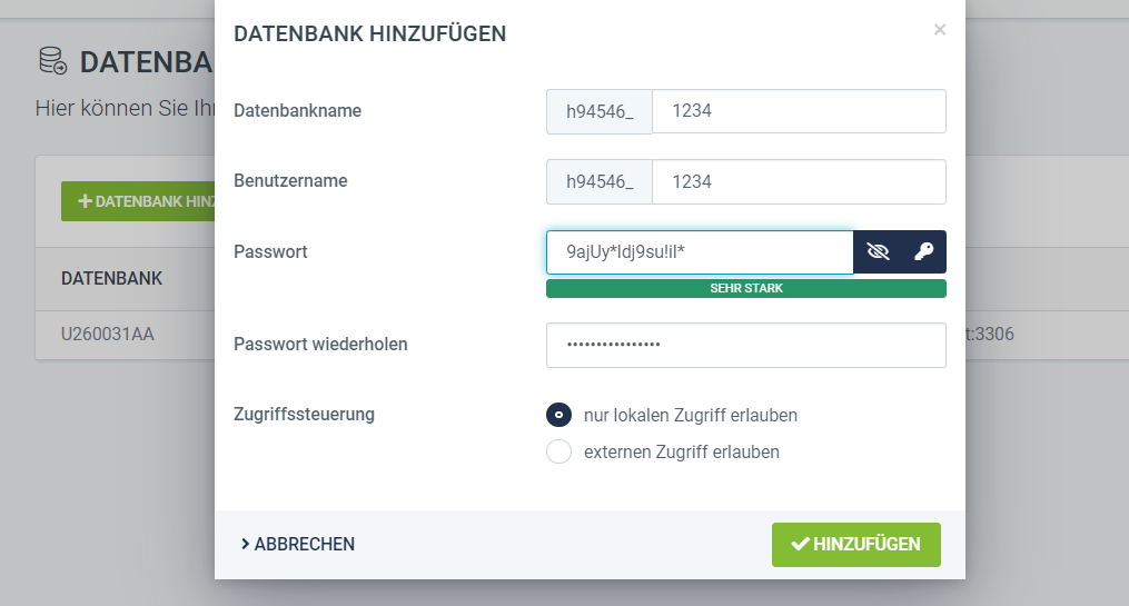 Datenbanken anlegen freenet Domain