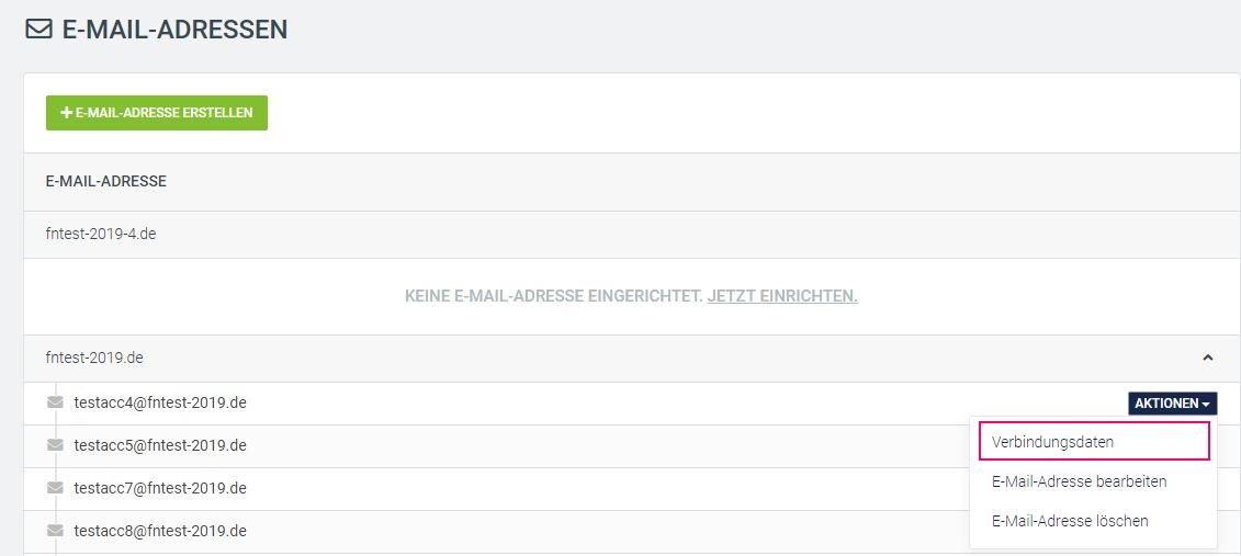 Email Aktionen verbindung