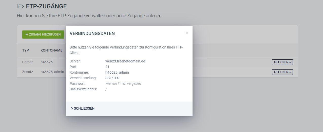 FTP Verbindungsdaten