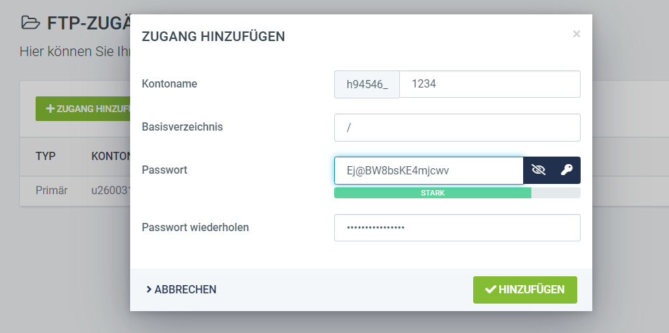 FTP-Zugänge anlegen freenet Domain
