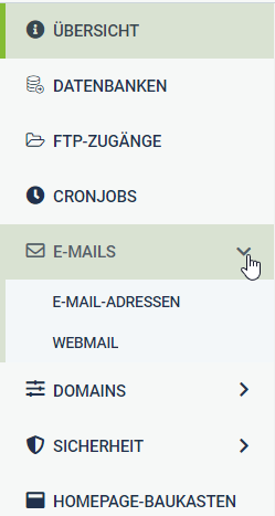Menue E-Mails Domain