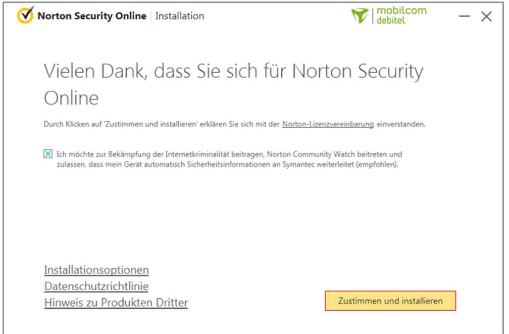 Schirtt 5 Produktinstallation Norton Security