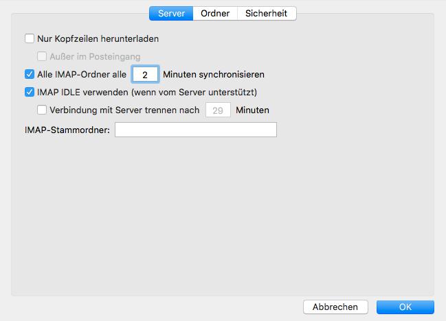 Schritt 7.1 Erweitert Server IMAP