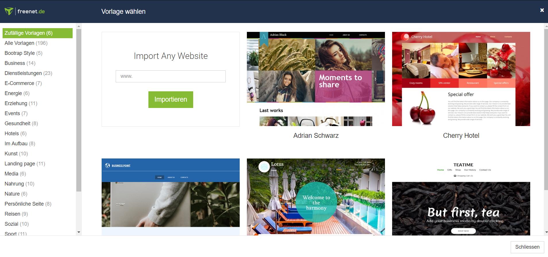 Vorlagen Homepage-Baukasten