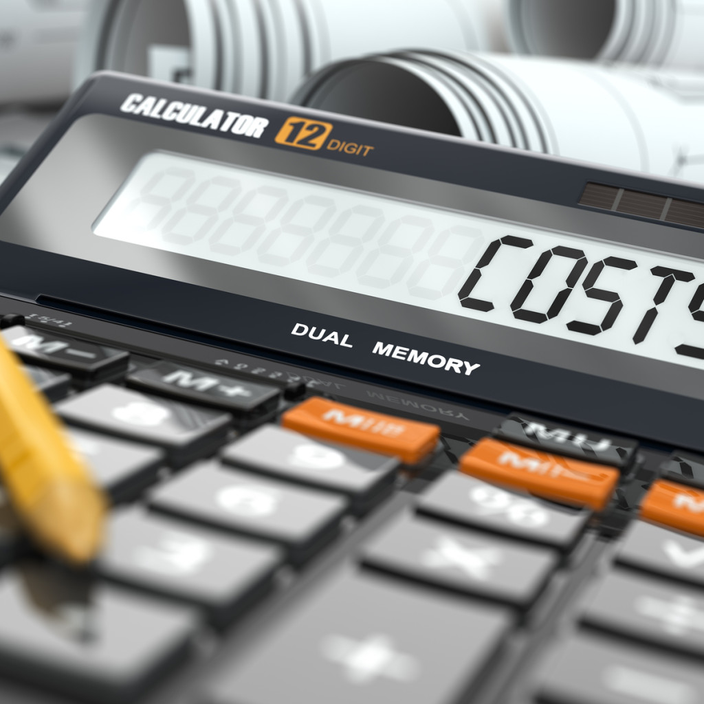 Concept of costs calculation, Calculator. Three-dimensional image.