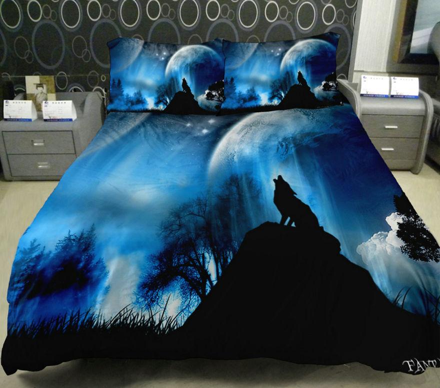 Космическая тема в интерьере - постельное белье волк воющий на луну