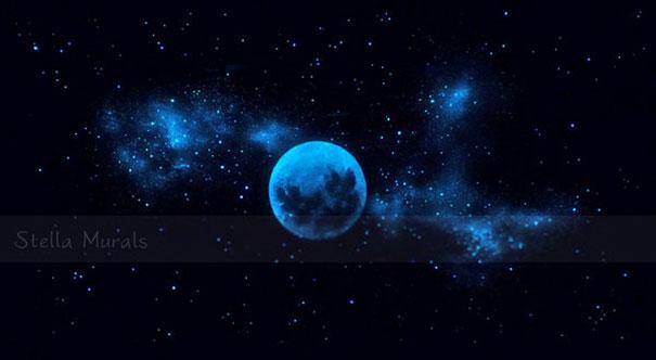 Космическая тема в интерьере - потолочный стикер Луна